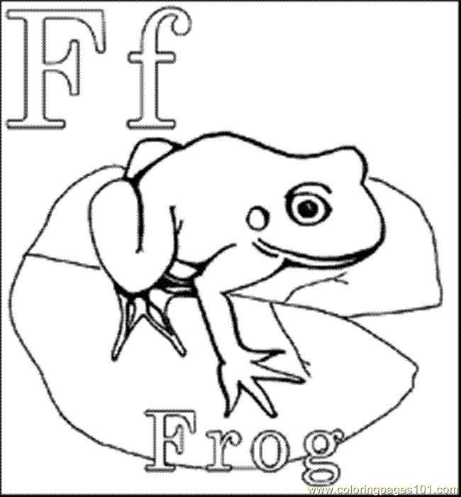 F is for frog coloring page. Frogs&ponds Pinterest