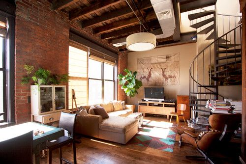 Loft Living Room With Floor Cloth, Neutral Palette, Spiral