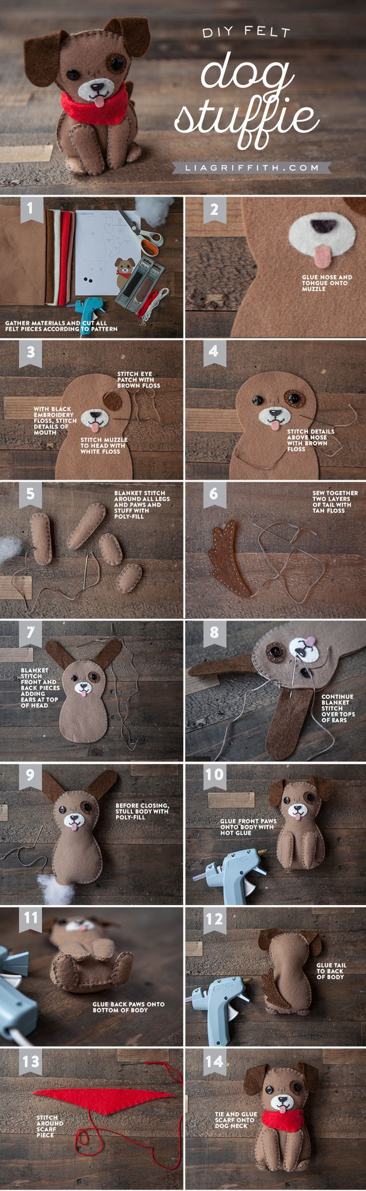 Woof! Want to make the cutest stuffed dog you ever did see? Downloadable pattern and tutorial by handcrafted lifestyle expert Lia