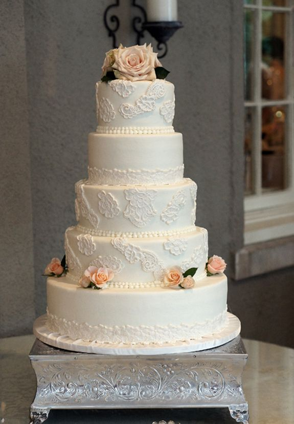 Five Tier Wedding Cake With Fondant Lace Pieces And Roses