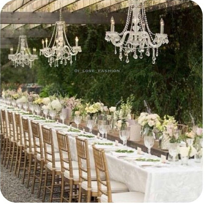Chandeliers Outdoors For Elegant Vintage Style Wedding
