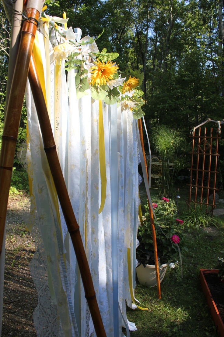 diy backdrop....strips of material in wedding colors with