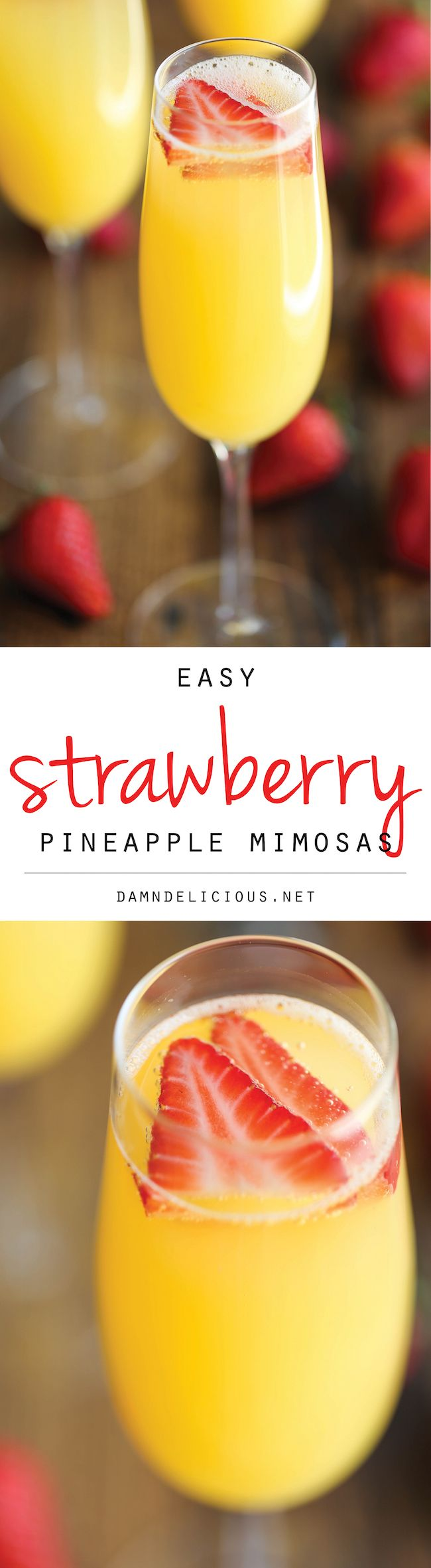 Strawberry Pineapple Mimosas – The easiest, quickest, and best 4-ingredient mimosa ever. And all you need is just 5 min to whip