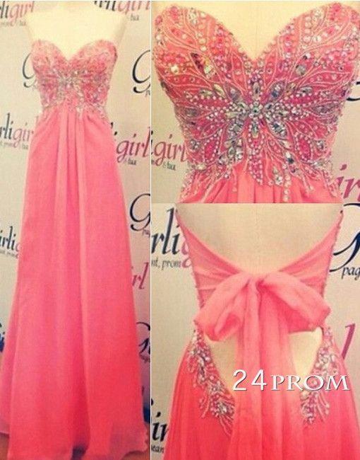 Red Sweetheart neckline Chiffon Long Prom Dresses, Evening Dresses – 24prom #prom #promdress #dress
