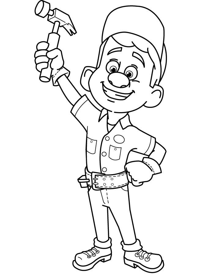 wreck it ralph coloring page fix it felix  painting