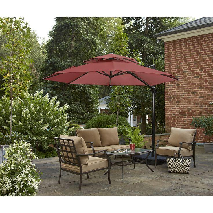 Shop Garden Treasures Round Red Offset Patio Umbrella with