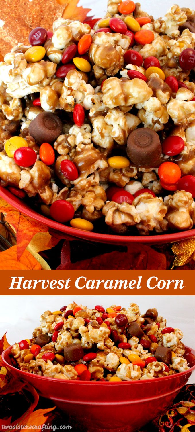 Harvest Caramel Corn – a fun Fall treat. Sweet and salty popcorn covered in delicious caramel – so delicious and so easy to make.
