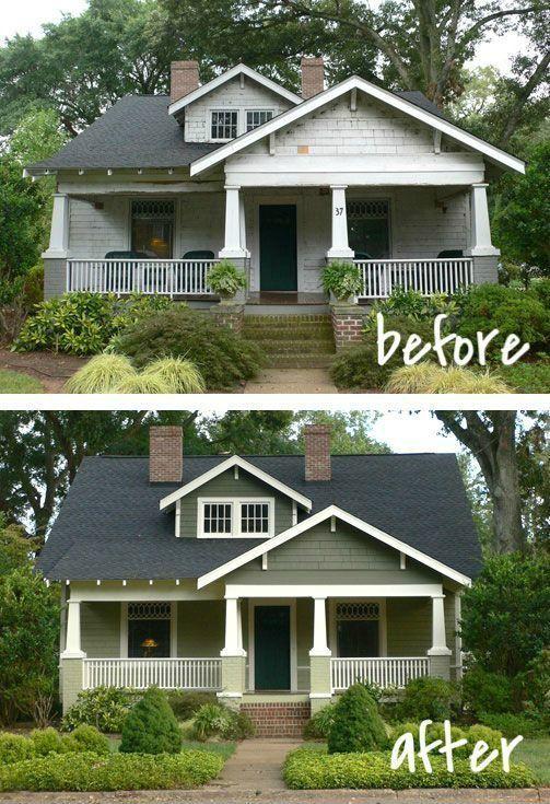 Porch Home Exterior Makeover Before And After Home Makeover Ideas