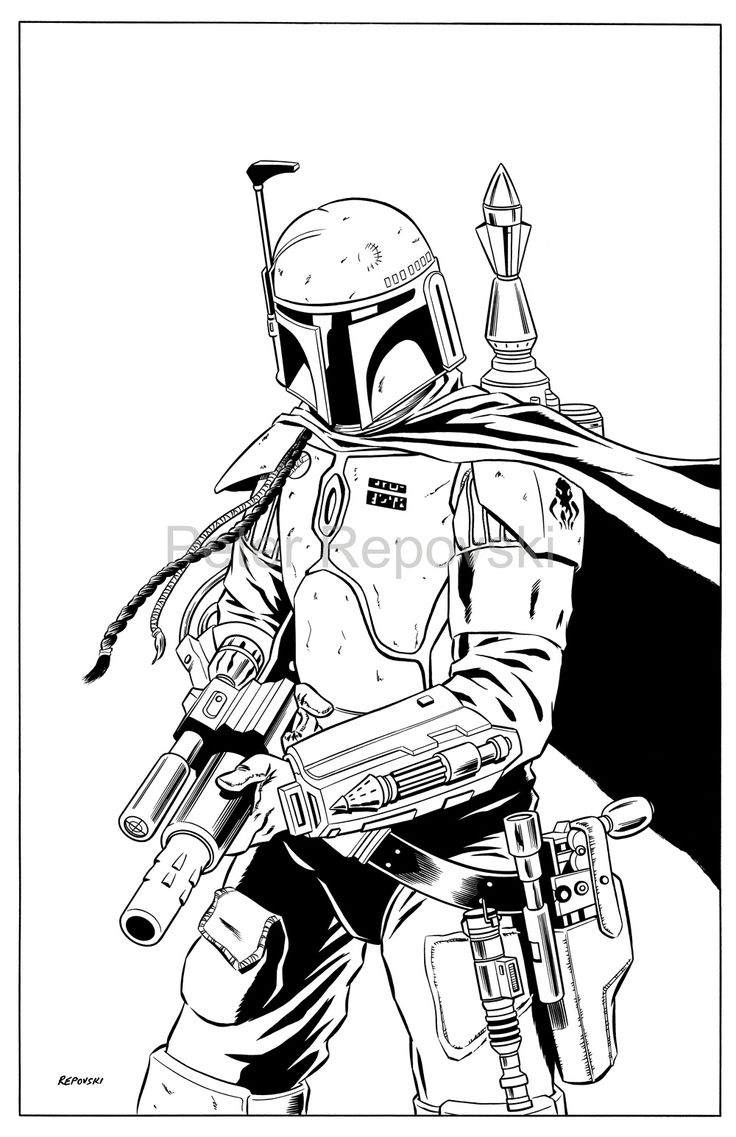 boba fett drawing outline Google Search Stencils and