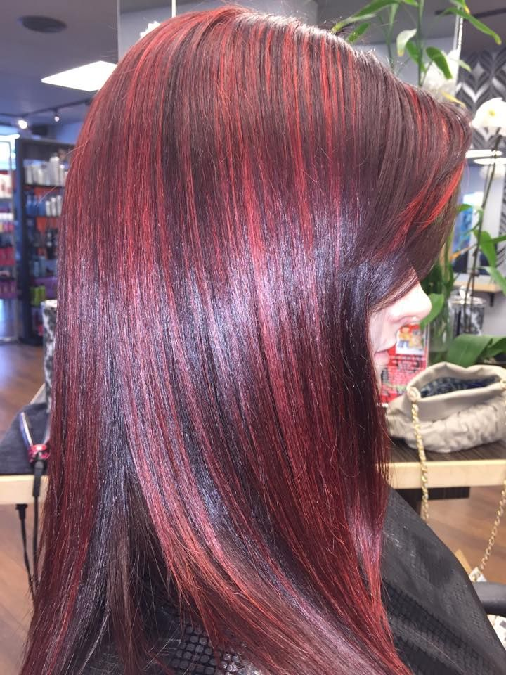 Cherry Cola Red Hair With Red Rocket Highlights