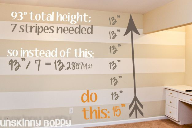 Easy way to paint stripes: use ODD number of stripes so top and bottom are existing room color, make stripes in even inch (or mm)