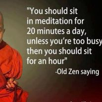 You should sit in meditation for 20 minutes a day unless you're too busy then you should sit for an hour