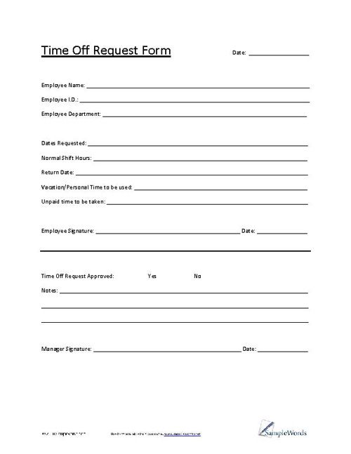 Time Off Request Form Request