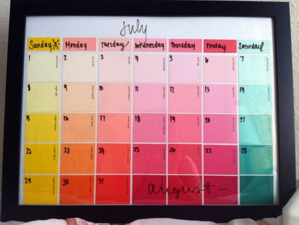Paint sample calender made from a frame, paint samples in the colors of your choice, a poster board for the background and glue.