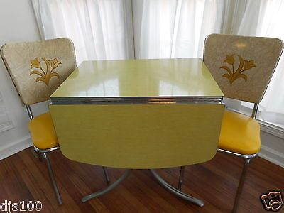 Vintage Formica Kitchen Table Drop Leaf 2 Chairs Mid