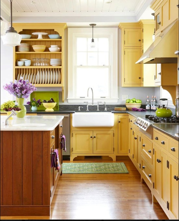 yellow kitchen with green accents! Ideas for the home
