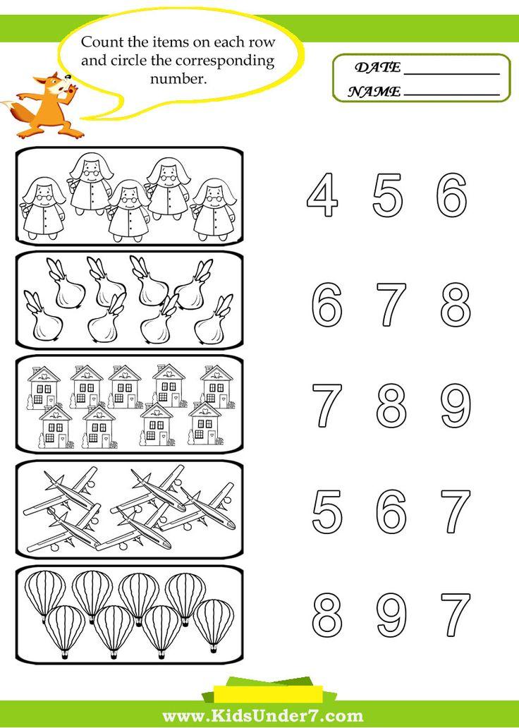 Kids Under 7 Preschool Counting Printables PreK Number