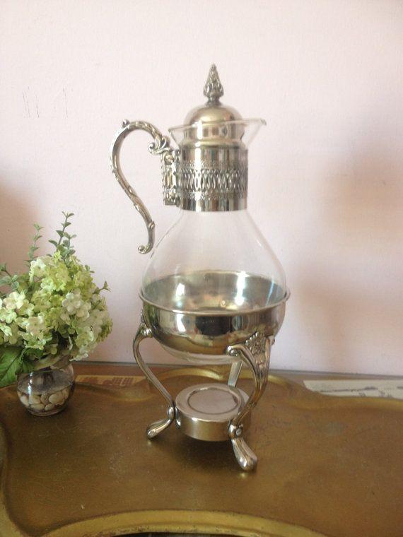 Vintage Silver Plate Carafe Coffee Pot Tea Warmer