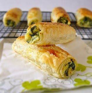 Feta, Ricotta & Spinach Rolls- These were divine. I added a finely diced onion to the mixture, and also sprinkled on some sea salt