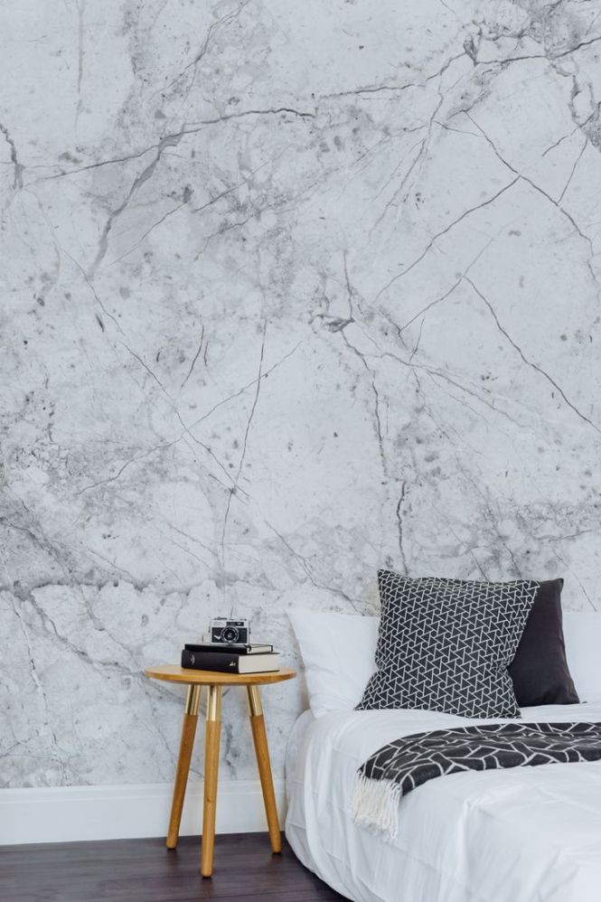 Textured White Marble Wall Mural