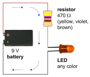 A schematic with a 9V battery, 470 ohm resistor, and a
