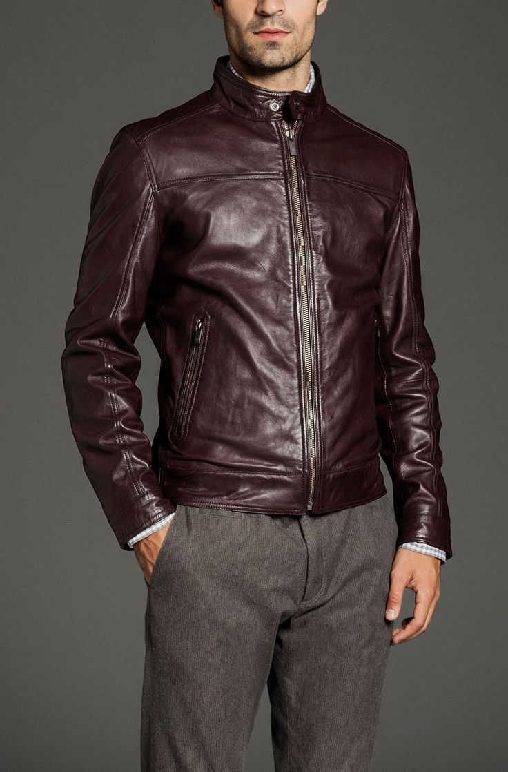 Massimo Dutti dark red leather jacket Casual Day