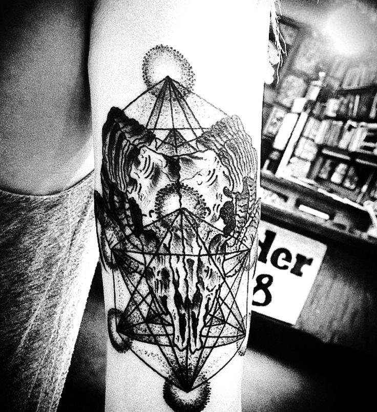 Aries Ram skull Metatron's cube Tattoo Black and grey