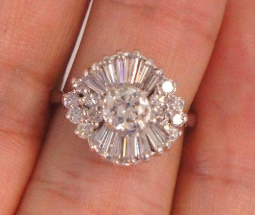 Antique Ballerina Style Engagement Ring 2 Carat Total 18k
