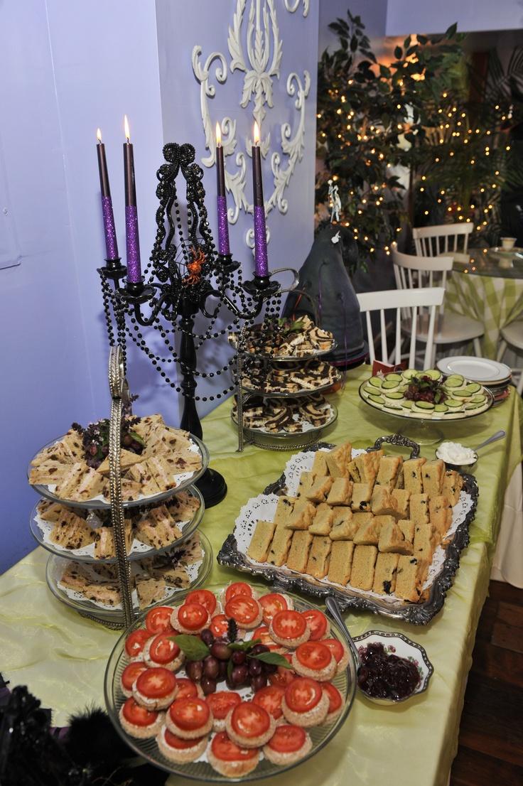 The halloween theme tea party spread A Halloween Tea