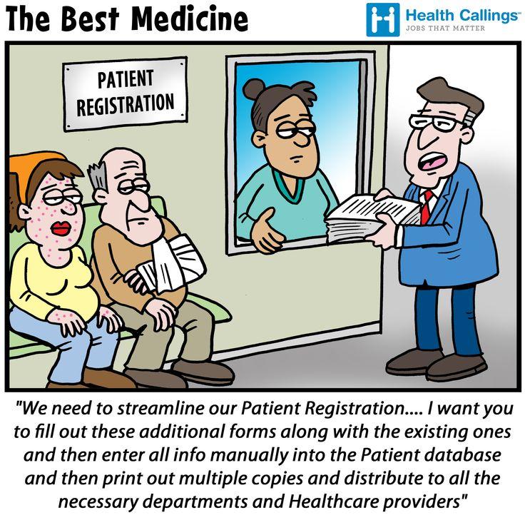 Streamlining patient registration cartoon via