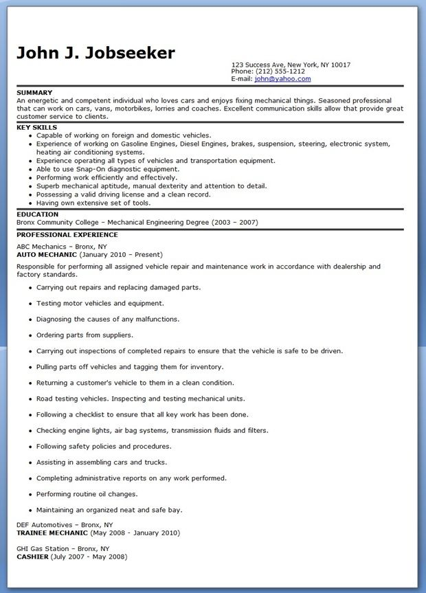 auto mechanic resume sample free internet site website web site