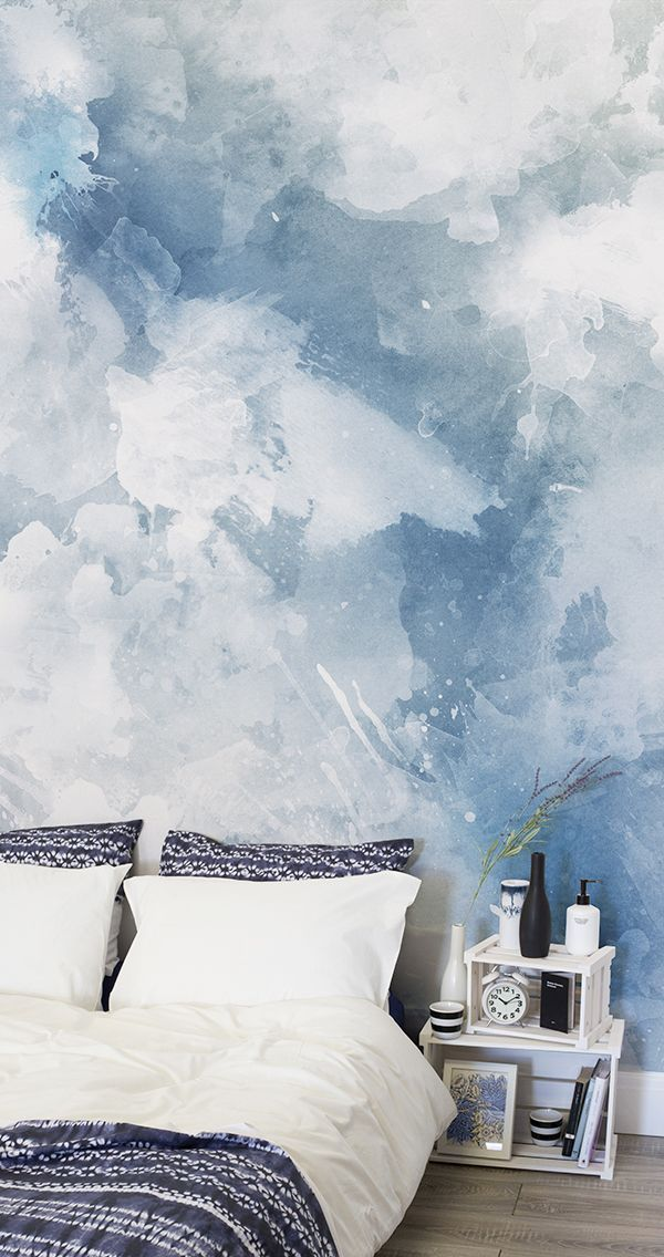 Blue And White Grunge Paint Watercolour Wallpaper Bedroom Wall