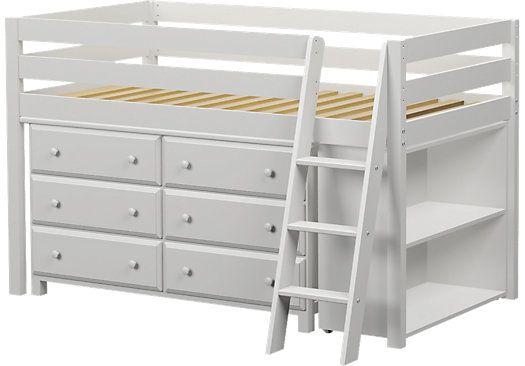 Castello White Twin Jr Loft Bed With 6 Drawer Dresser