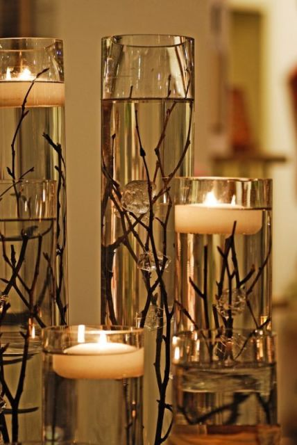 floating candle centerpiece: floating candle centerpiece