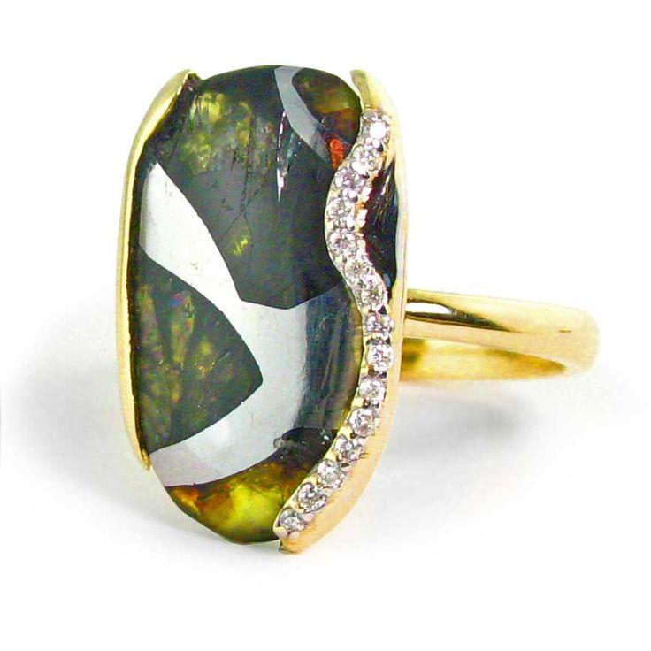 Womans Meteorite Ring Pallasite Jewelry Meteorite