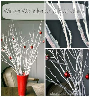 Make your home look festive for less this holiday season with easy DIY dollar store Christmas decor ideas. Wreaths, candles, centerpieces, wall art, ornaments, vases, gifts and more!Tutorial: Winter Wonderland Branches. Cheap Christmas décor, Decorating with Nature, Christmas decorations: