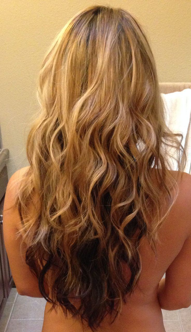 Long Layered V Shaped Haircut Blonde On Top Brown