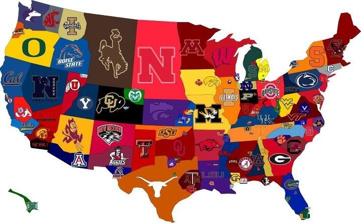 US map by college football team LSU Pinterest We