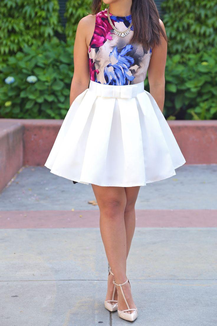 white mini skater skirt