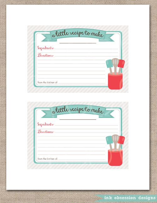 17 Best Images About Printable Recipe Card On Pinterest