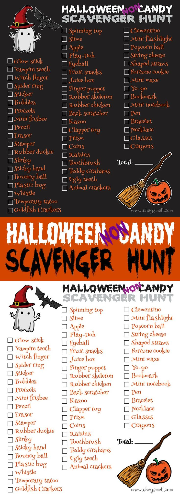 Halloween NonCandy Scavenger Hunt Printable Kid, Other