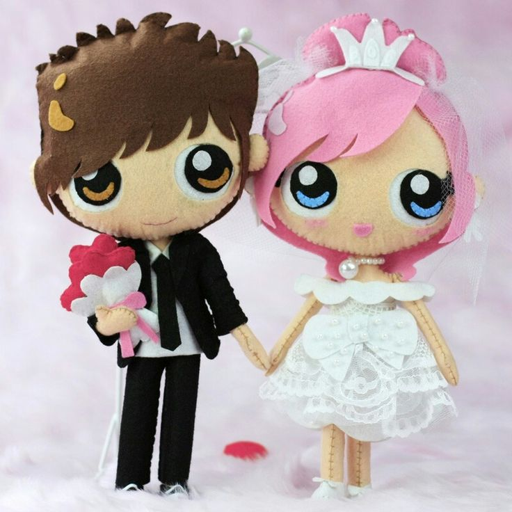 Groom Bride Felt Anime Japanese Doll Felt Nios