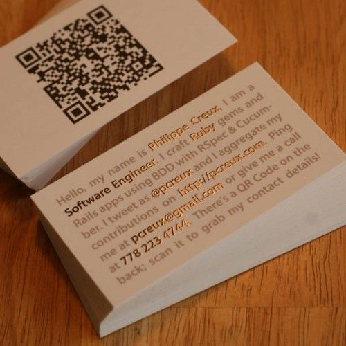 mini resume style business card for a software engineer this is the