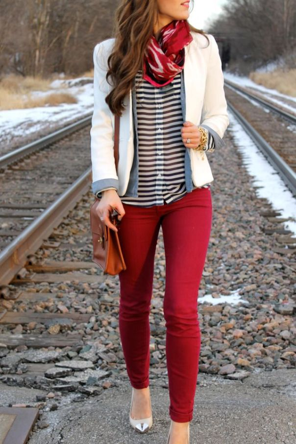 cranberry pants, white, and stripes: