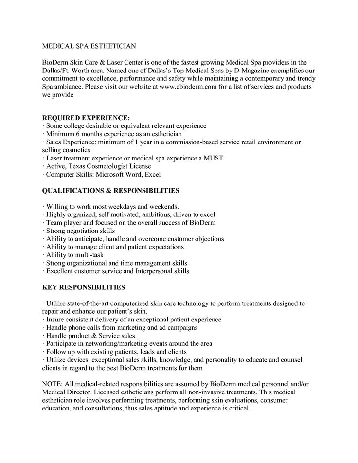 Medical Aesthetician Resume Example  sample entry level ultrasound