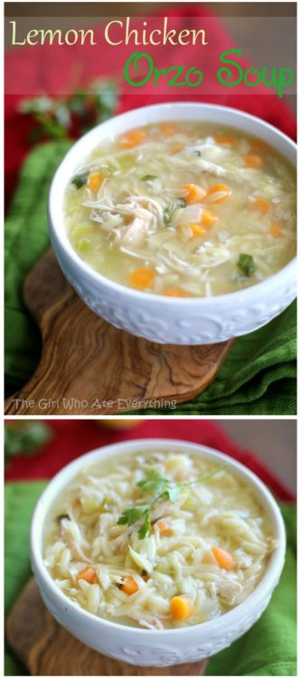 Lemon Orzo Soup - one of my favorite soups for fall. www.the-girl-who-ate-everything.com: