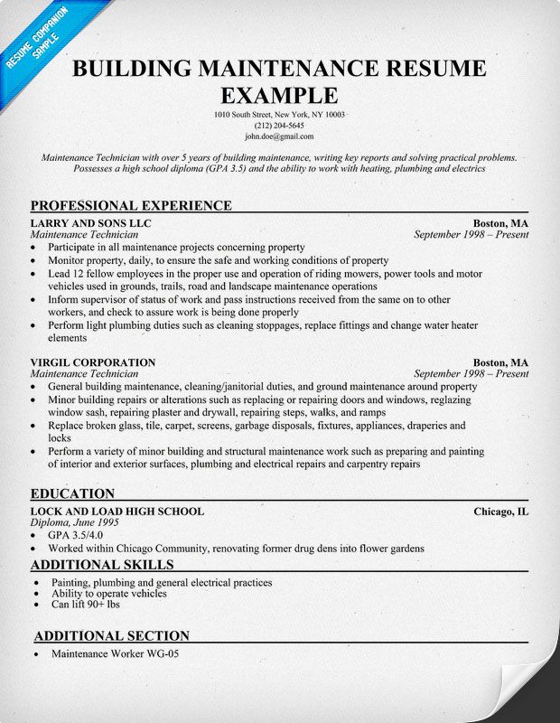 maintenance duties resume resume objective maintenance technician