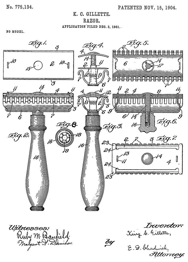 King C Gillette's first safety razor patent Vintage