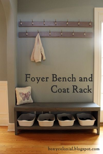DIY bench with shoe storage and coat rack for an entrance way