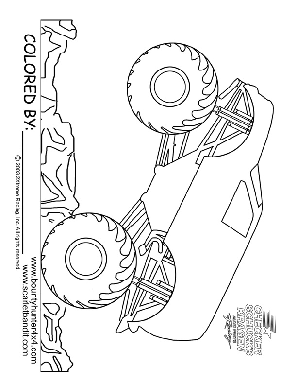 Monster truck coloring page printable Jace Monster Truck